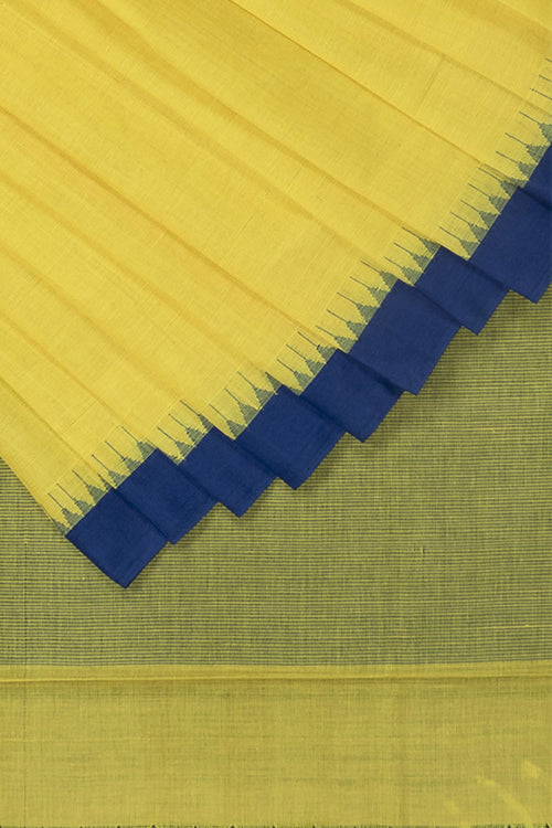 Okhai Handspun Yellow Kuppadam Small Temple Kada Cotton Handlloom Saree Online