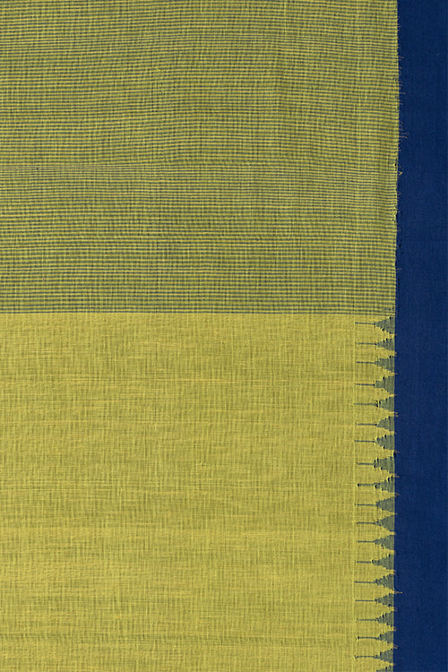 Hand-spun Kuppadam Small Temple Kada Cotton Handloom saree – Turmeric