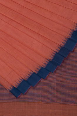 Kuppadam Small Temple Kada Cotton and Handspun Handloom saree – Orange