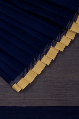 Kuppadam Comb Cotton and Handspun Handloom saree – Dark blue