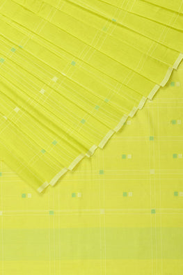 Pixel Buta Cotton and Handspun Handloom Saree – Yellow
