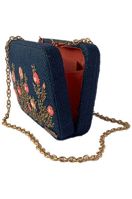 Dhaaga Handcrafts-Navyblue floral box clutch