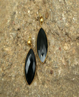 """ Black -  Natural Stone Earrings """