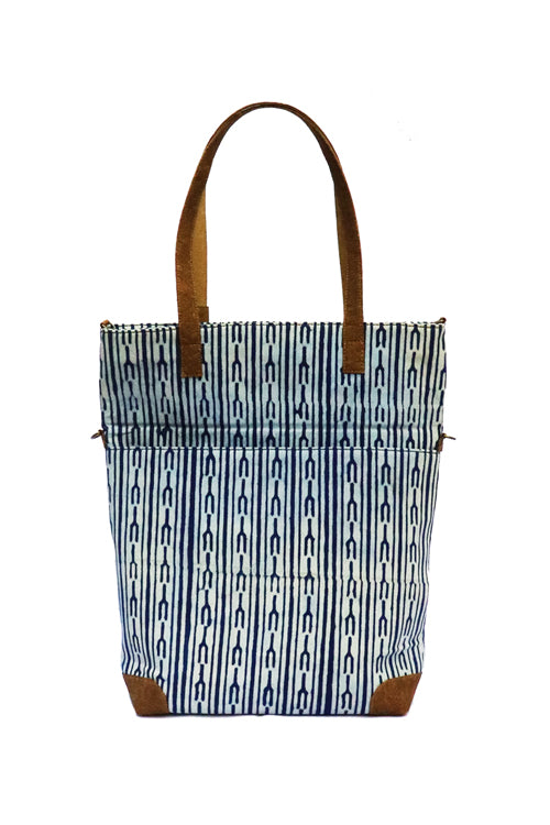 'Kirgiti's ' Vegan Leather and Dabu Print Indigo Tote Bag cum Sling-22
