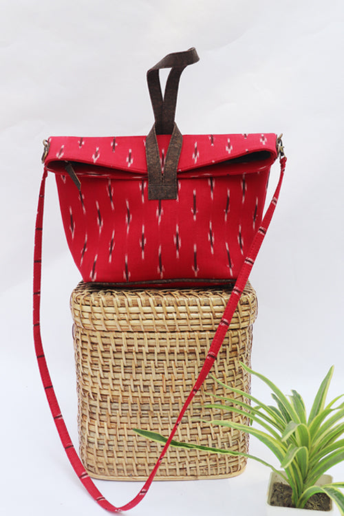 'Kirgiti's ' Vegan Leather and Ikat Weave Red Convertible Sling-17