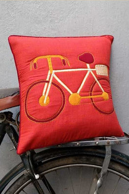 Bun.Kar Bihar 'Cycle' Sujini & Applique Embroidery Cotton Cushion