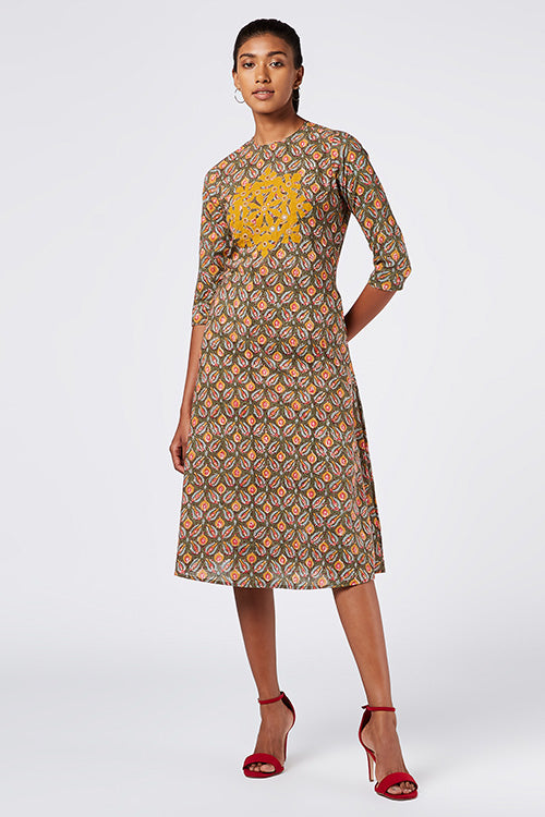 Okhai 'Amelia' Appliqué Cotton Hand Block Print Dress