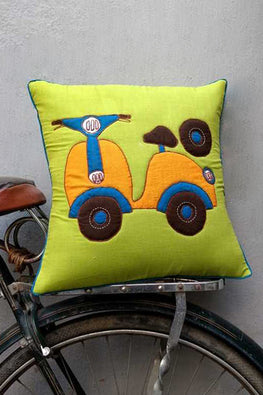 Bun.Kar Bihar 'Scooter' Sujini & Applique Embroidery Cotton Cushion