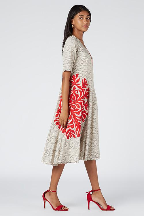 Okhai 'Fantasy' Appliqué Cotton Dhabu Dress