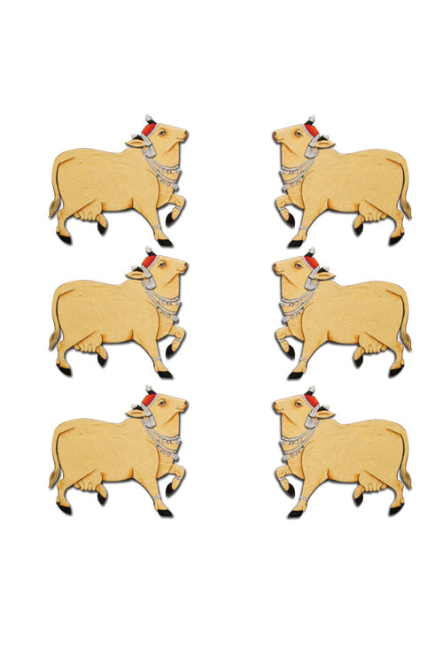 "Trovecraft 3.6"" Handpainted Gold Cow Cutouts - Set of 6"