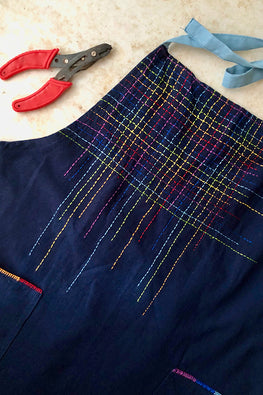 Okhai 'Prism' Hand Embroidered Pure Cotton Men's Apron