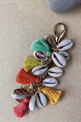 Dhaaga Handcrafts - Light shell coin tassel keychain