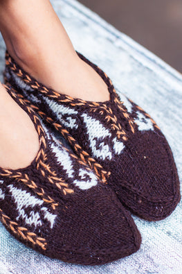 Gaddi wool Naturally Dyed Handknit Brown slippers by Aana Jaana