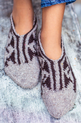 Gaddi wool Naturally Dyed Handknit Grey slippers by Aana Jaana