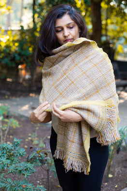 Gaddi wool hand spun, hand woven, natural dyed Churned Butter Tea Stole