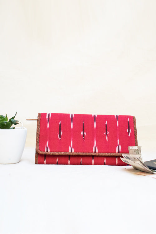 'Kirgiti's ' Vegan Leather and Ikat Weave Red Hand Bag cum Sling-12