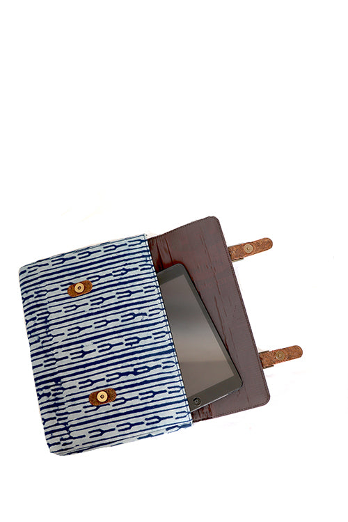 Kirgiti's Vegan Leather and Indigo Dabu print Canvas Ipad sleeve