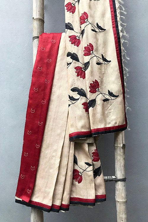 Bun.Kar Bihar 'Bela' Applique & Sujini Embroidery Silk Saree