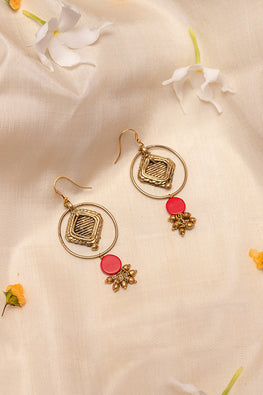Miharu Red and Glod Tone earrings