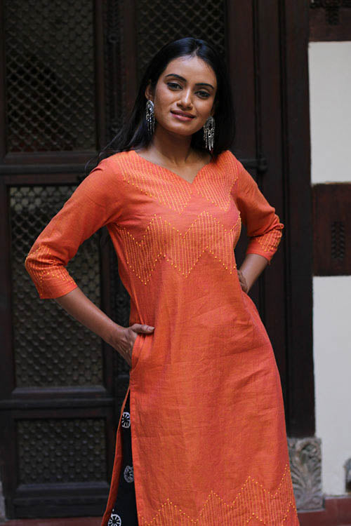 "Okhai ""Fire Garnet"" Embroidery Work Kurti"