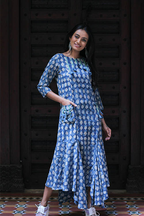 "Okhai ""Blue Hues"" Indigo Dhabu Dress"