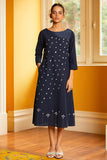 Okhai 'Hail' Hand Embroidery Mirror Work Cotton Dress