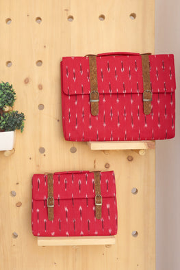 Kirgiti's Vegan Leather and Red ikat weave Ipad sleeve