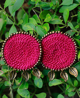 Okhai 'Trousseau' Rani Pink Handmade Earrings