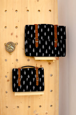 Kirgiti's Vegan Leather and Black Ikat Ipad sleeve