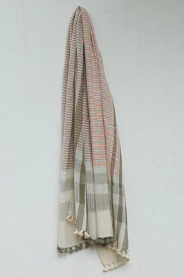 Khadi organic cotton Natural dyed stole-2-shaft weave-style 538
