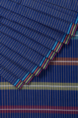 Magic Checks Cotton Handloom saree – Blue Dark
