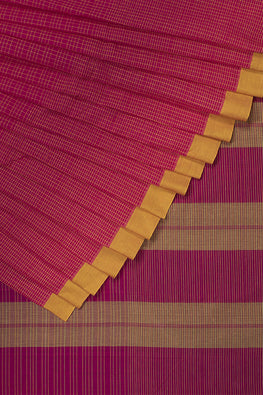 Smart Checks Cotton Handloom Saree – Pink