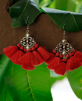 Okhai 'Gypsy' Handmade Red Tassel Earrings