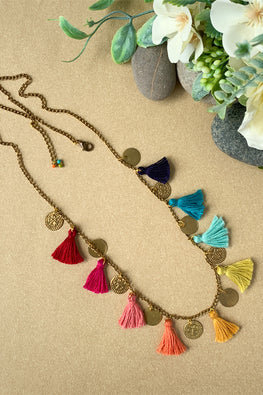 Dhaaga Handcrafts - Multi tassel coin necklace