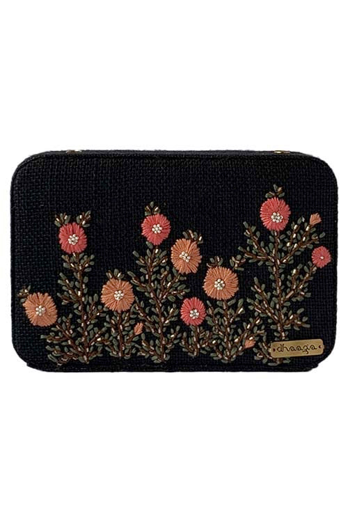 Dhaaga Handcrafts-Black floral box clutch