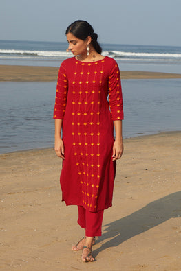 Okhai 'Red Hibiscus' Cotton Handloom Mirror Work Kurta-Pant Set