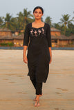 Okhai 'Flaming Flamingos' Cotton Handloom Embroidered Long Kurta
