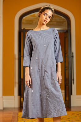 Okhai 'Fog' Hand Embroidery Mirror Work Pure Cotton Dress