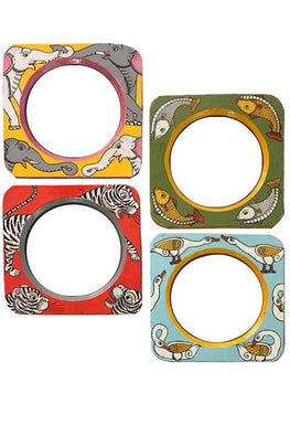 "Trovecraft 6"" Handpainted Jungle Themed Frames - Set of 4"