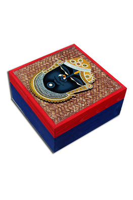 "Trovecraft 6"" Handwoven Blue Cane Box with Srinathji Cutout"
