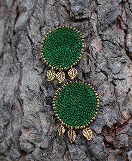 Okhai 'Trousseau' Green Handmade Earrings