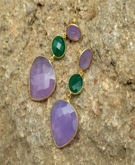 Green & Purple- Natural Stone Earrings