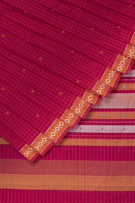 Diamond Dance Cotton Handloom saree – Pink