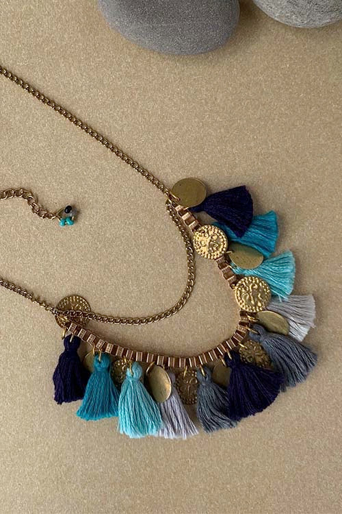 Dhaaga Handcrafts - Blues Tassel coin box necklace