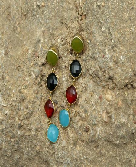 Multicolor - Natural Stone Earrings