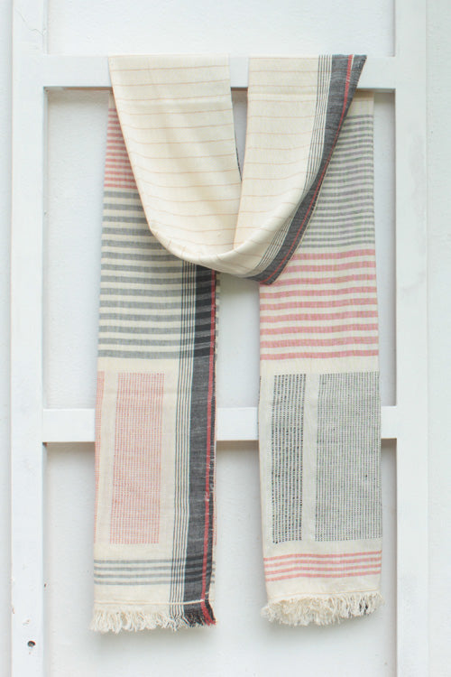 Black and White Khadi Dupatta With Orange Stripes