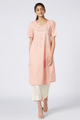 Okhai 'Hera' Embroidered Organic Cotton Cambric Kurta