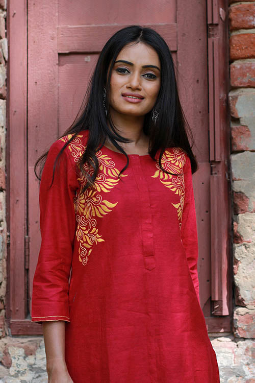 "Okhai ""Red Phoenix"" Embroidery Work Kurta"