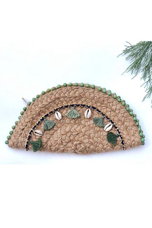 Dhaaga Handcrafts-Natural Sage green Tassel & shells half moon clutch