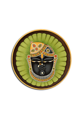 "Trovecraft 8"" Handpainted Pichwai Green Srinathji Décor Plate"